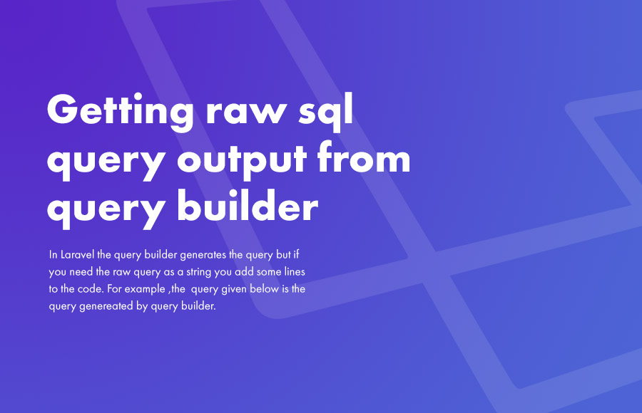 Getting raw sql query output from query builder